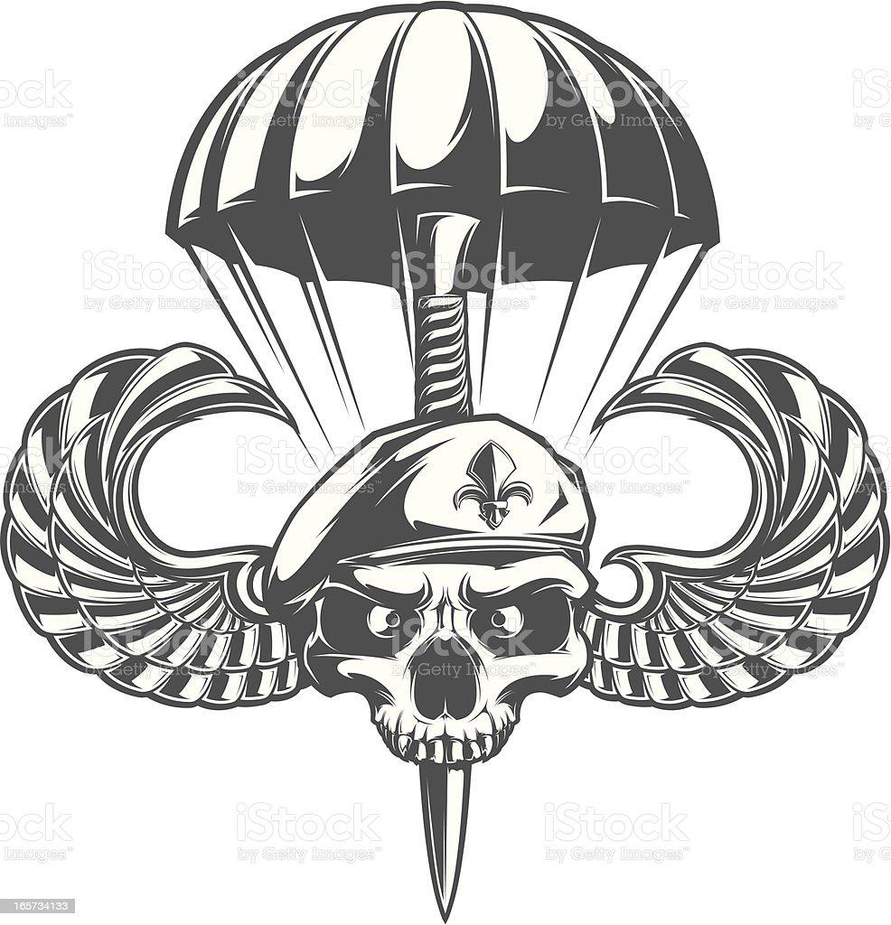 airborne skull vector art illustration