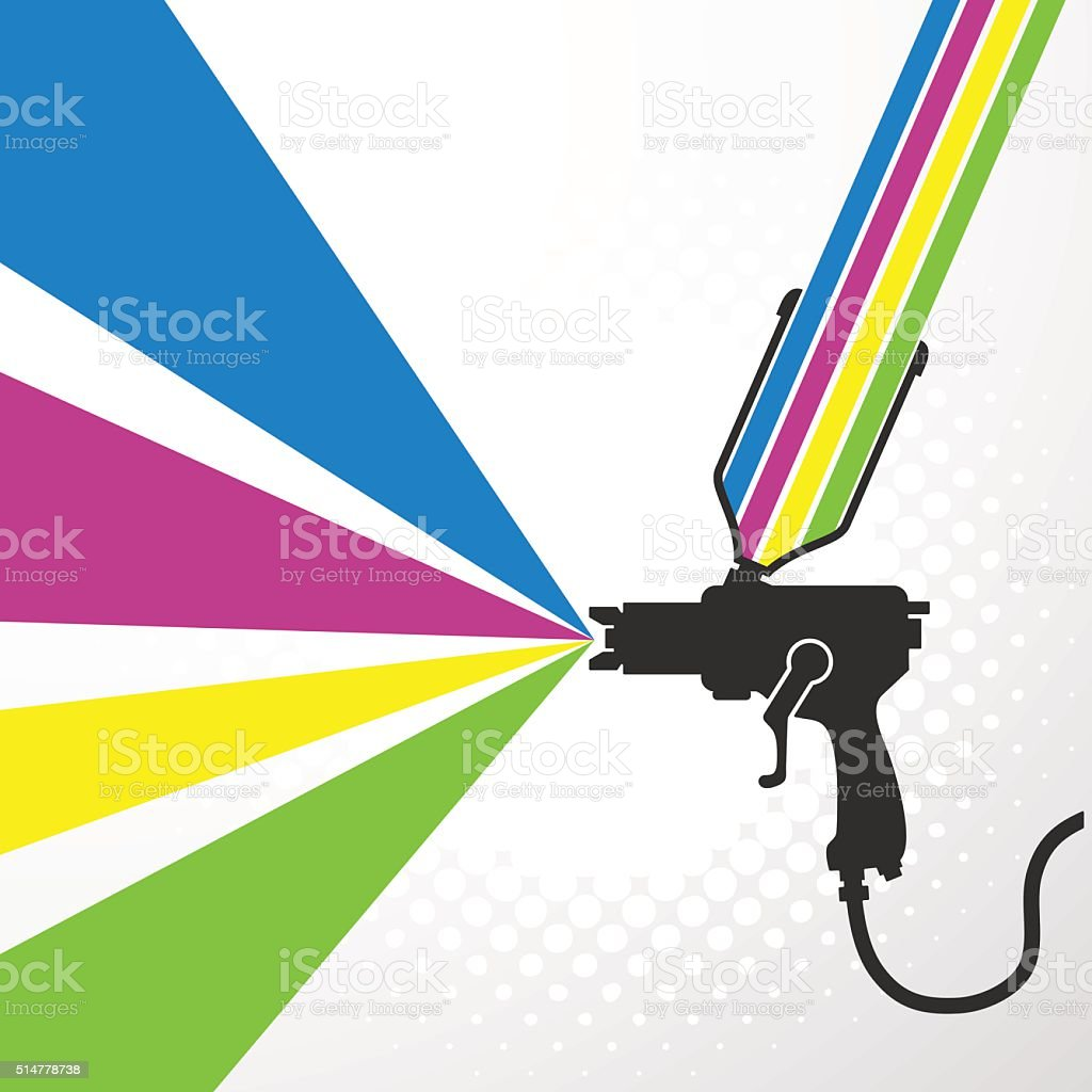Airbrush or spray gun vector vector art illustration