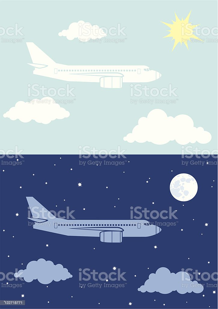 Aircplane flying in the sky royalty-free stock vector art