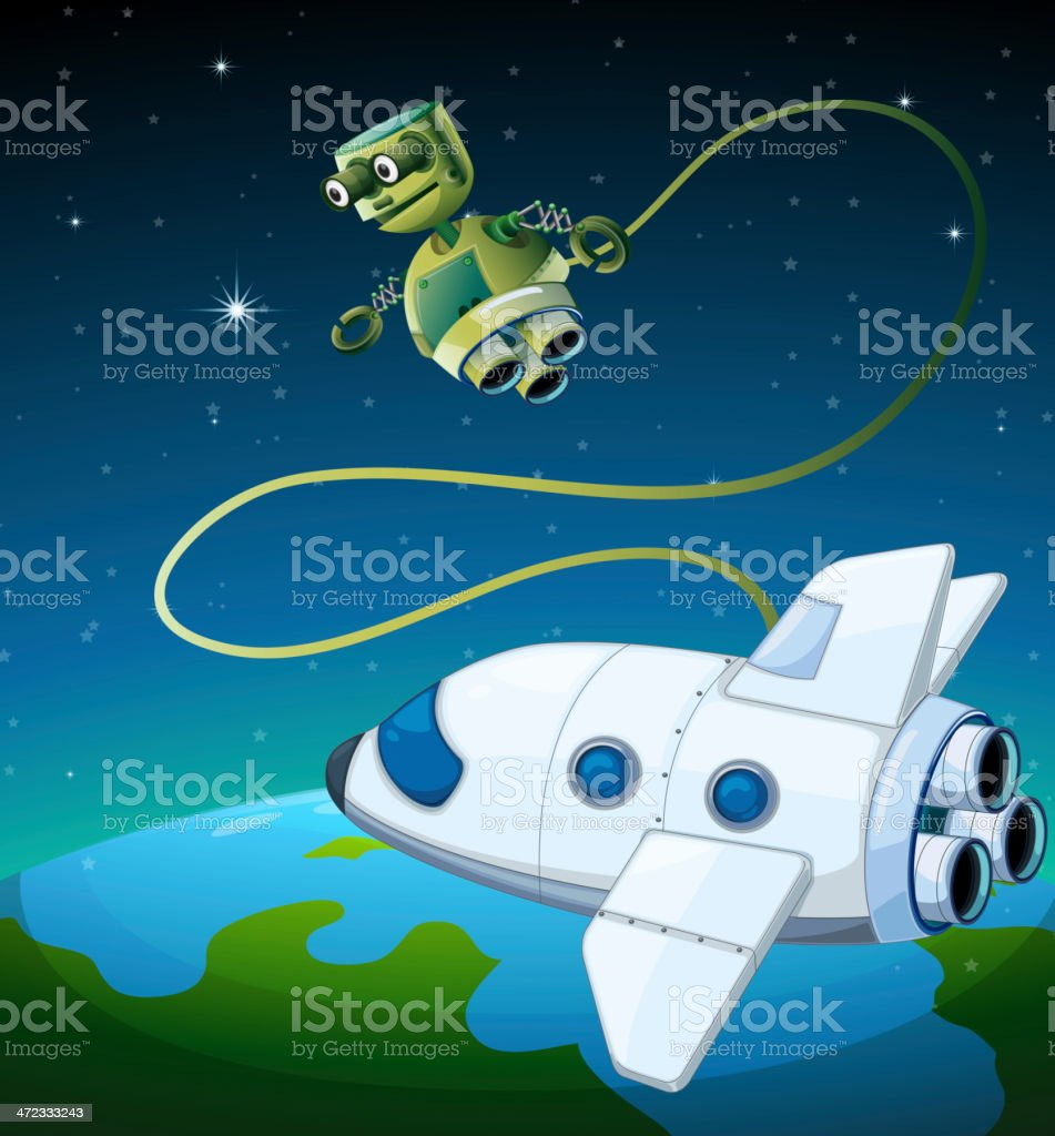 Aircraft and a robot at the outerspace royalty-free stock vector art