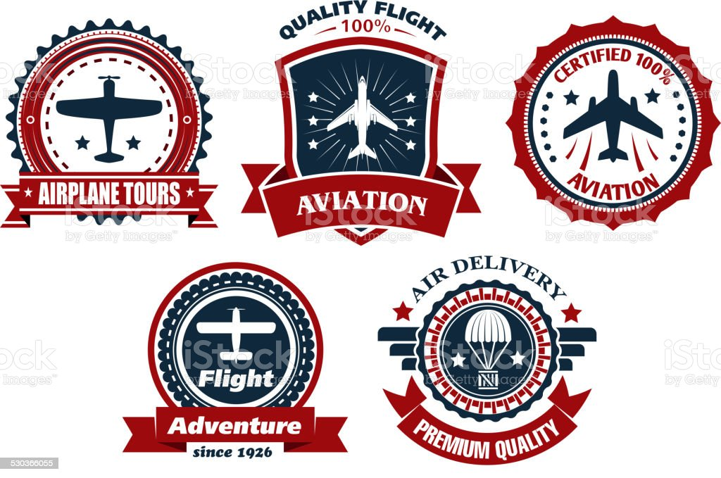 Aircraft and aviation banners vector art illustration