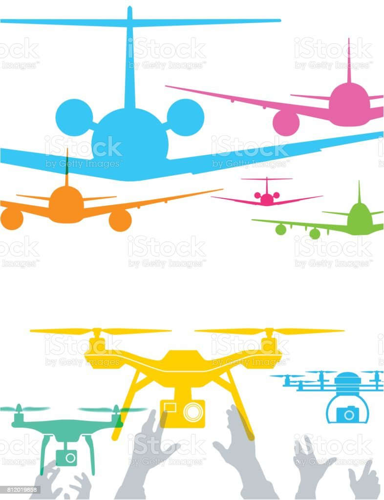 Aircraft and drones vector art illustration
