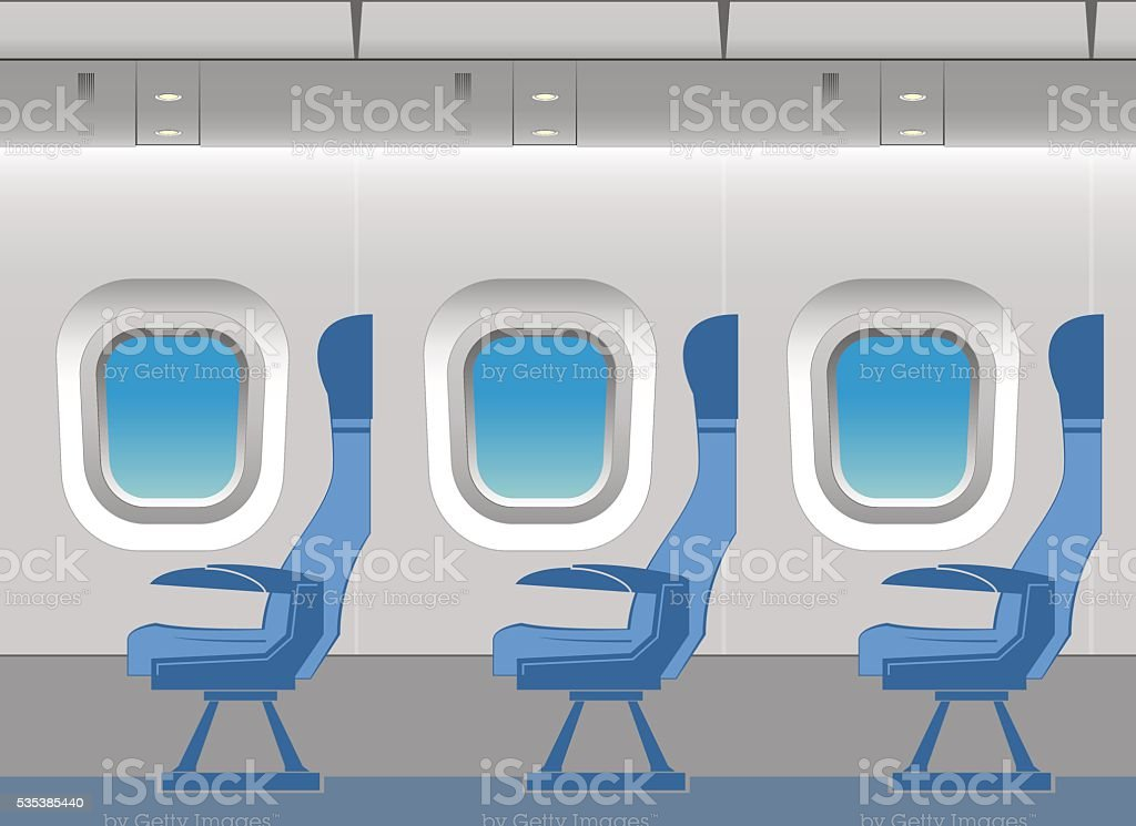 Aircraft cabin vector art illustration