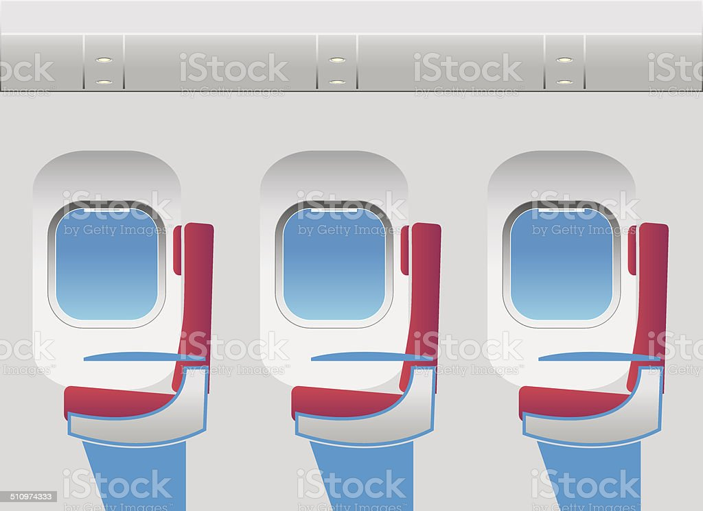 Aircraft cabin with portholes and seats vector art illustration