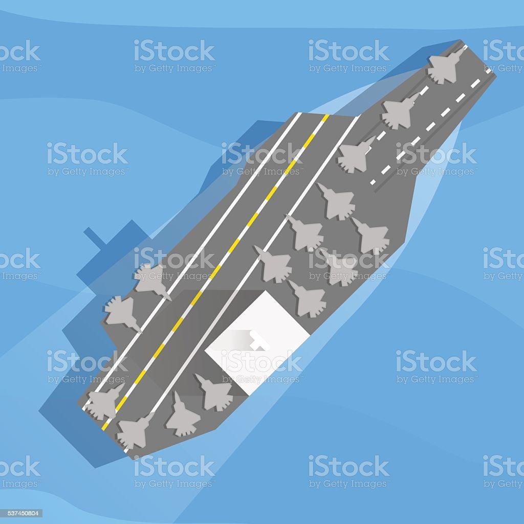 Aircraft carrier at sea vector art illustration