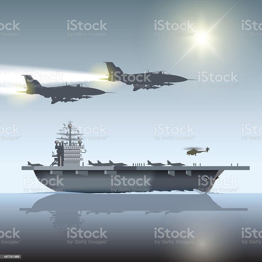 Aircraft carrier vector art illustration