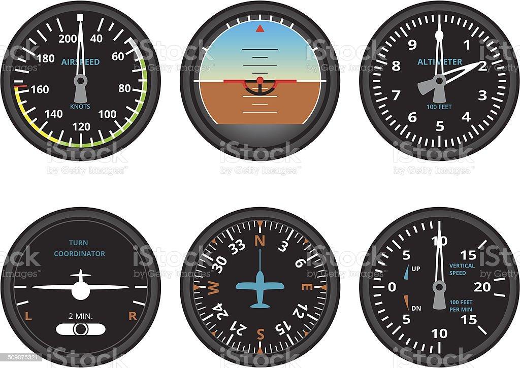 aircraft gauges vector art illustration