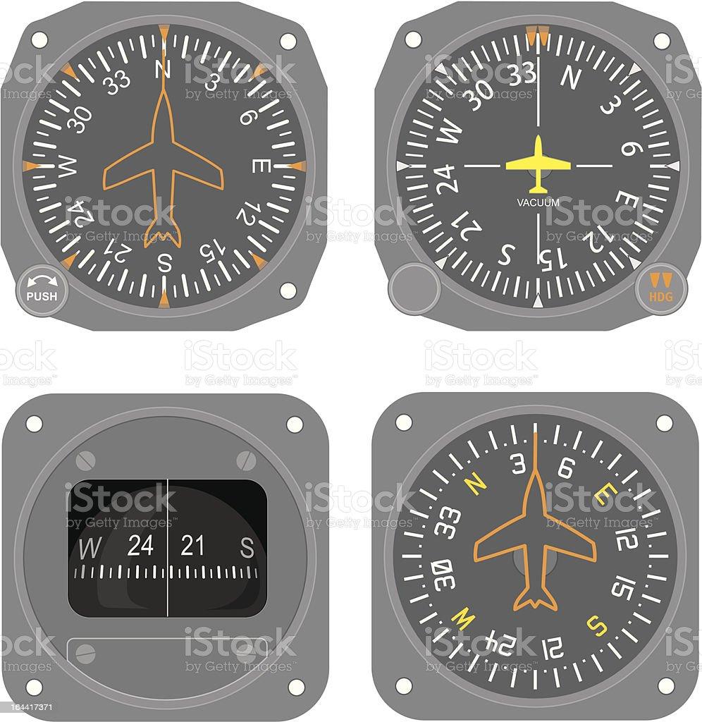 Aircraft instruments (set #4) vector art illustration