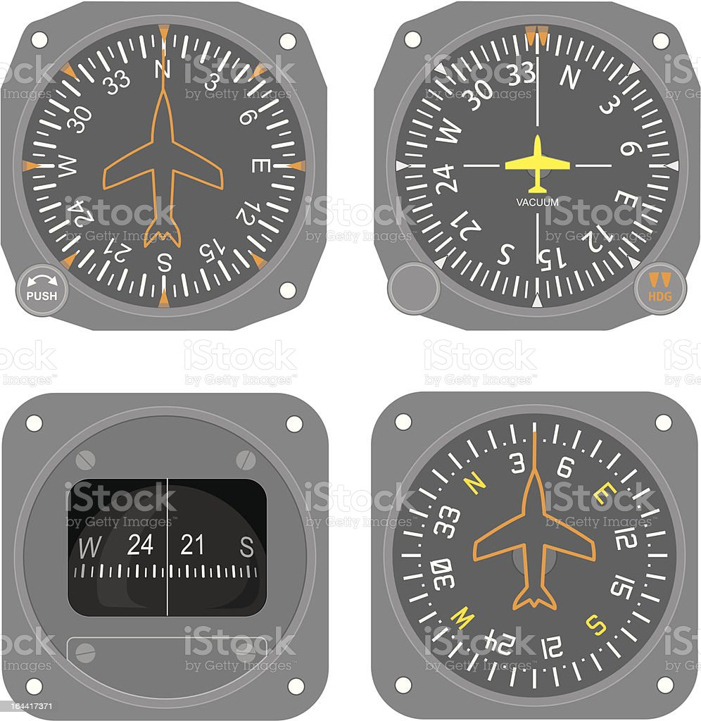 Aircraft instruments (set #4) vector art illustration