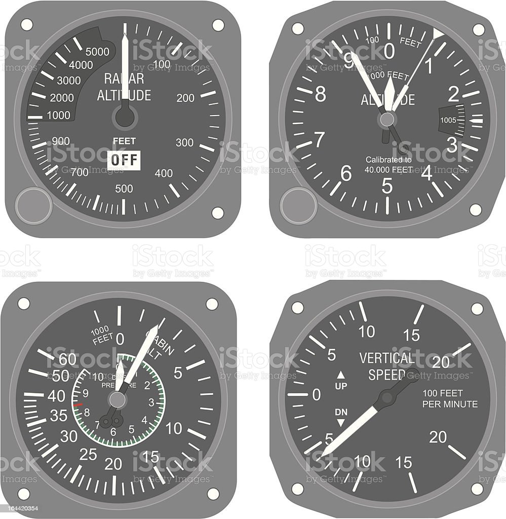 Aircraft instruments (set #2) vector art illustration