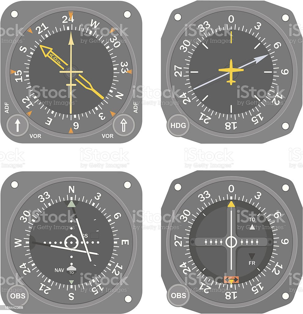Aircraft instruments (set #5) vector art illustration