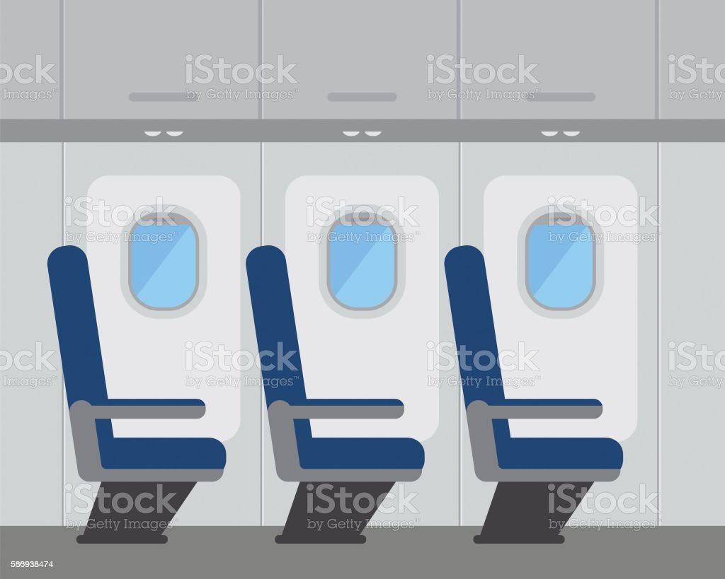 Aircraft interior with windows and seats, vector illustration vector art illustration