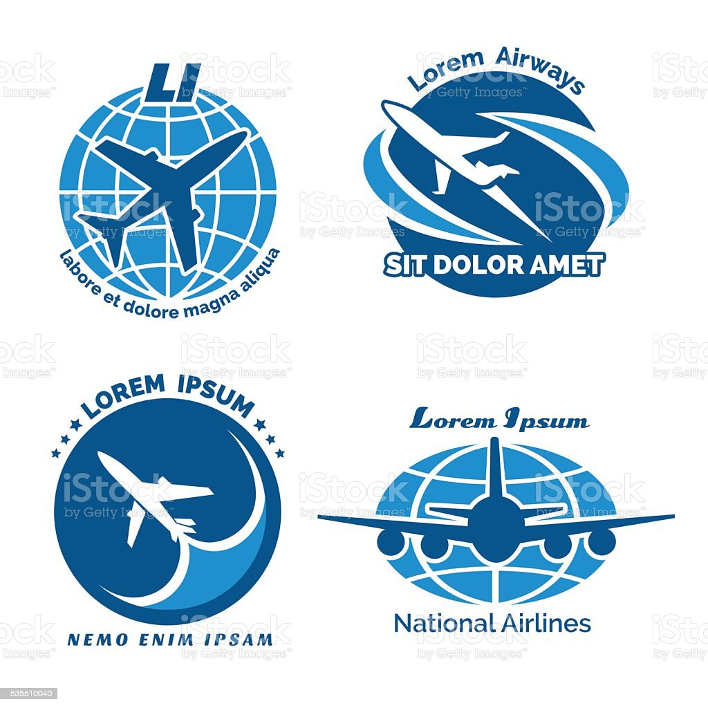 Aircraft logo vector emblems set vector art illustration
