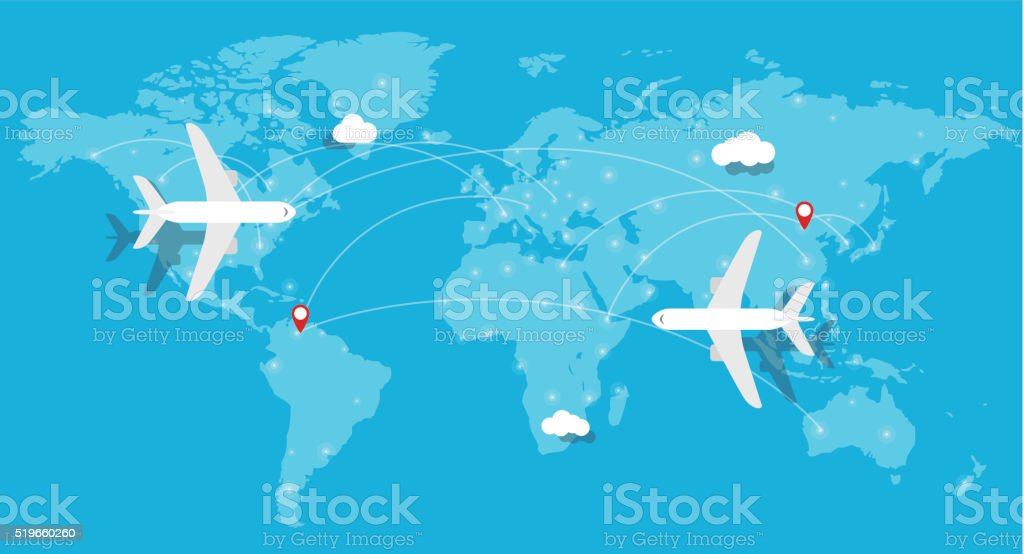 aircraft, Plane flying, world map, earth vector art illustration