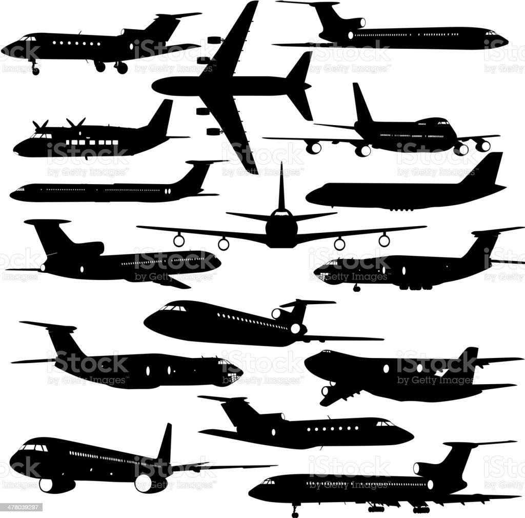 aircraft silhouettes.  vector illustration vector art illustration