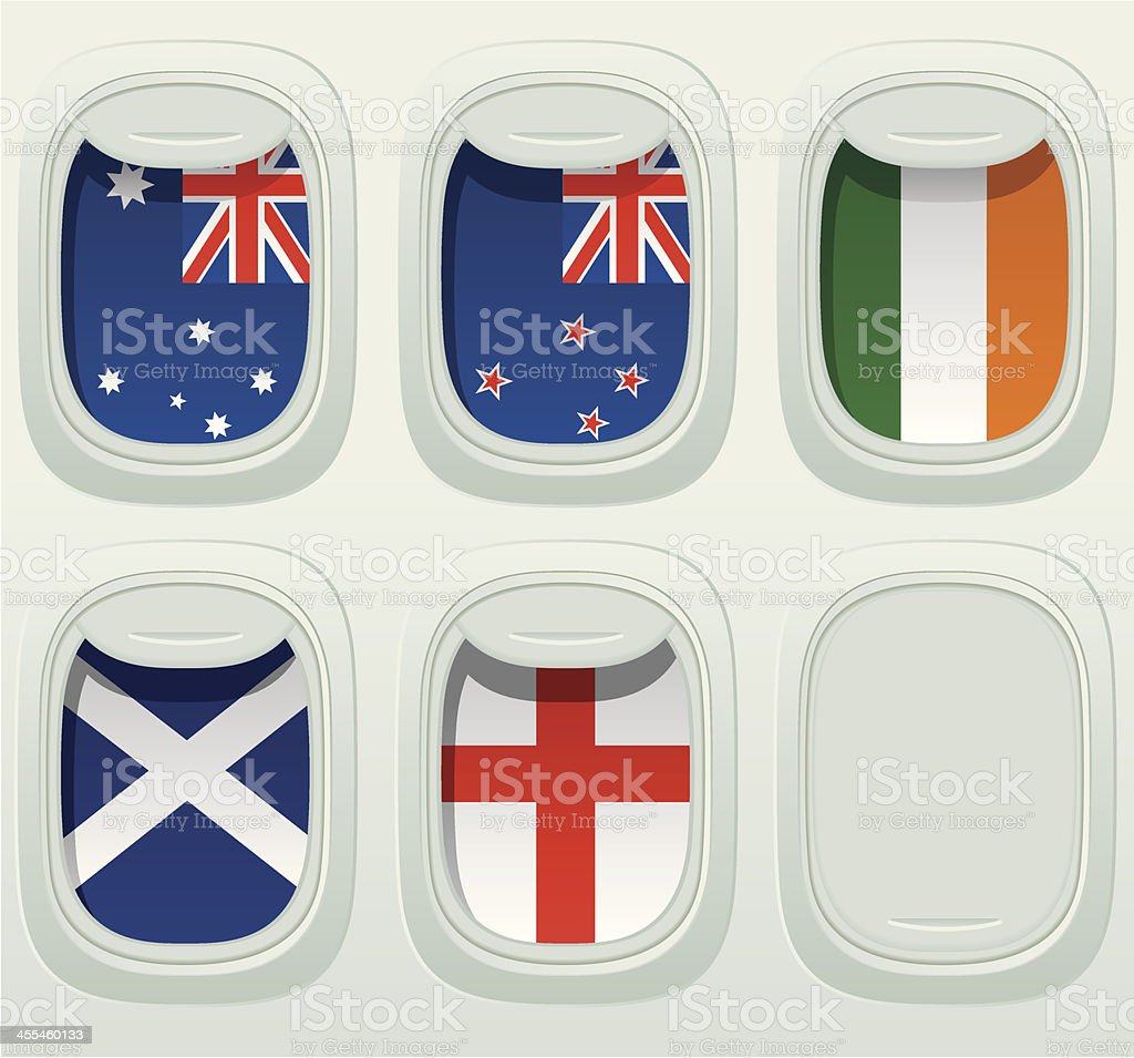 Aircraft Window National Flag Collection royalty-free stock vector art