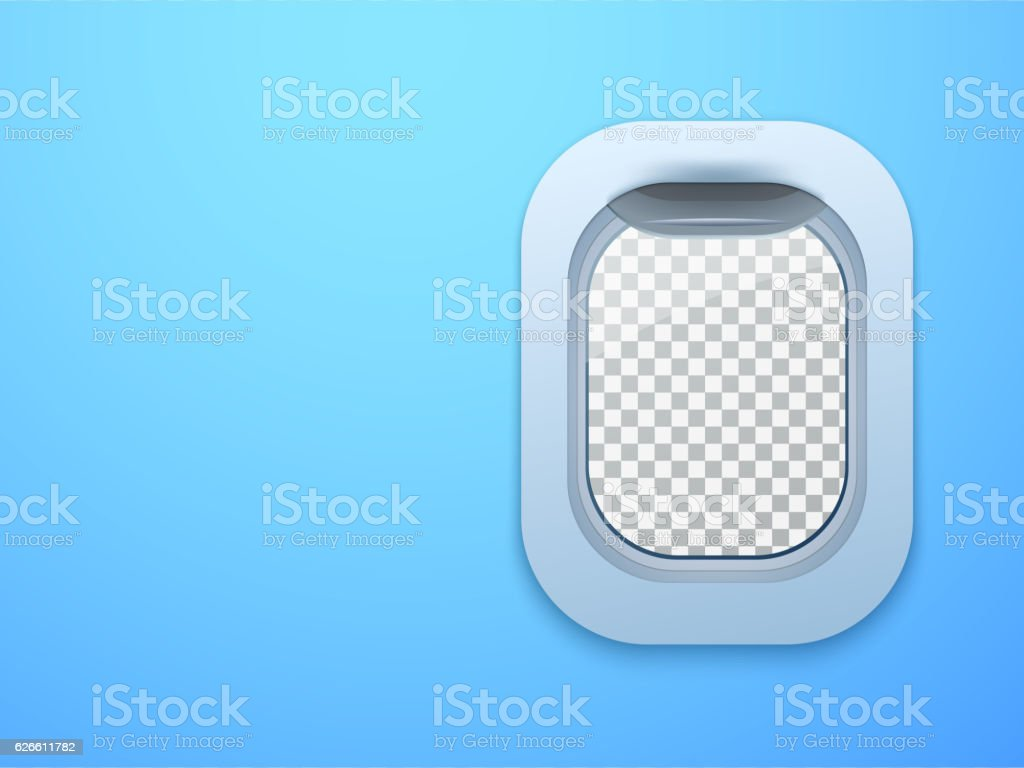 Aircraft window. Plane porthole isolated with place for your text vector art illustration