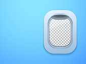 Aircraft window. Plane porthole isolated with place for your text