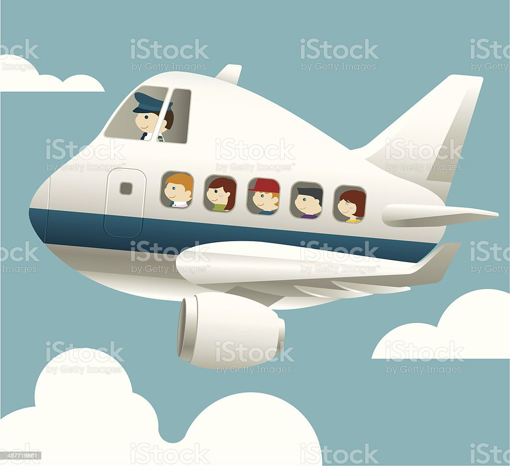 Aircraft with pilot and passenger vector art illustration