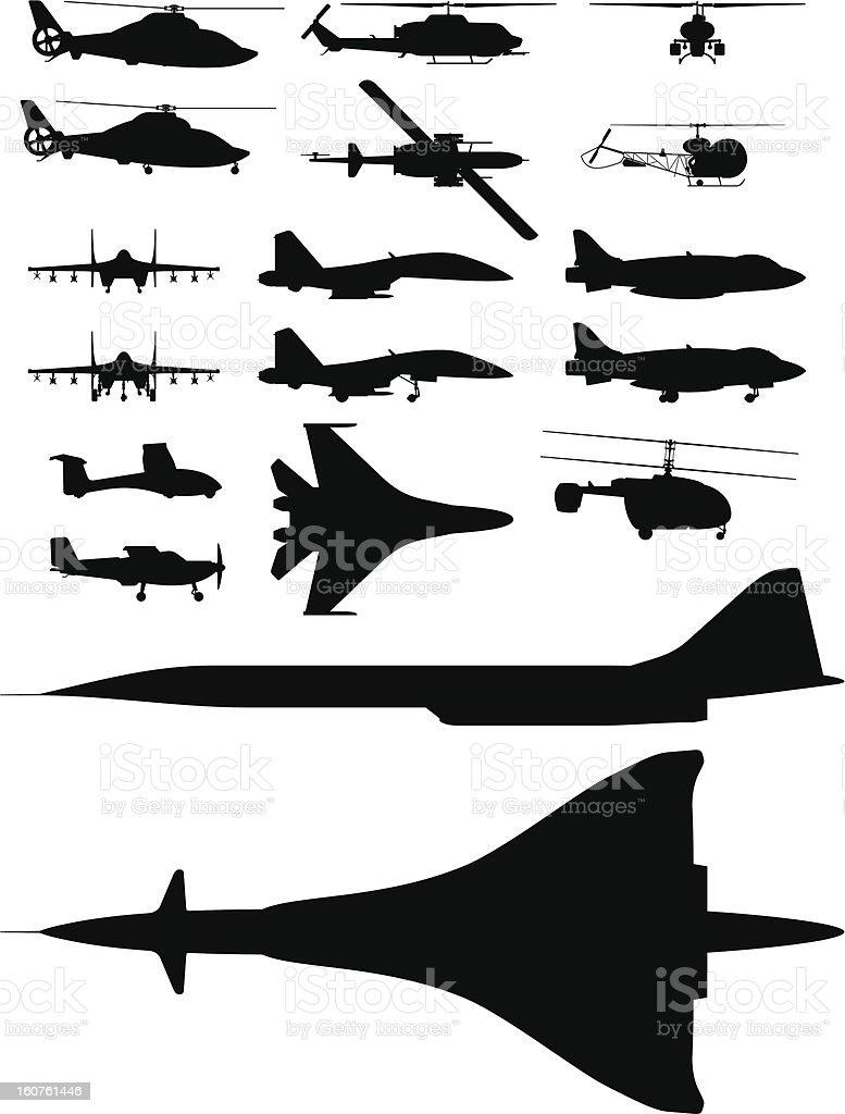 aircrafts vector art illustration