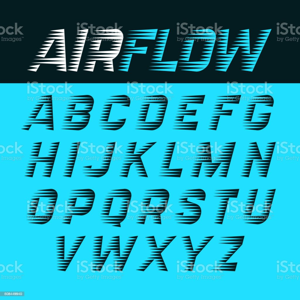 Airflow alphabet vector art illustration