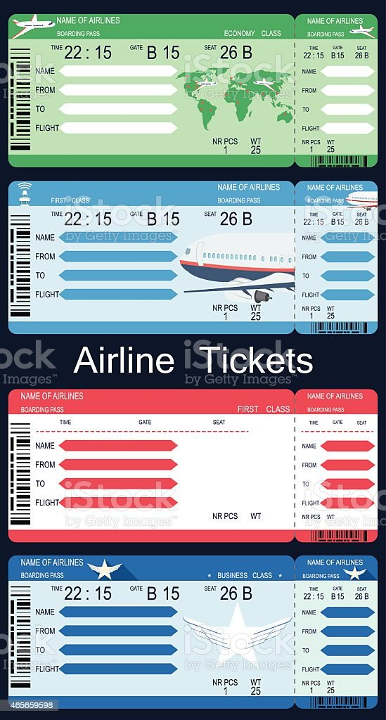 Airline Boarding Pass Tickets vector art illustration