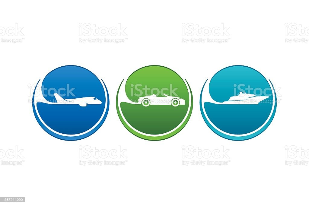 Airline Highway Seaway Vehicles Icons vector art illustration