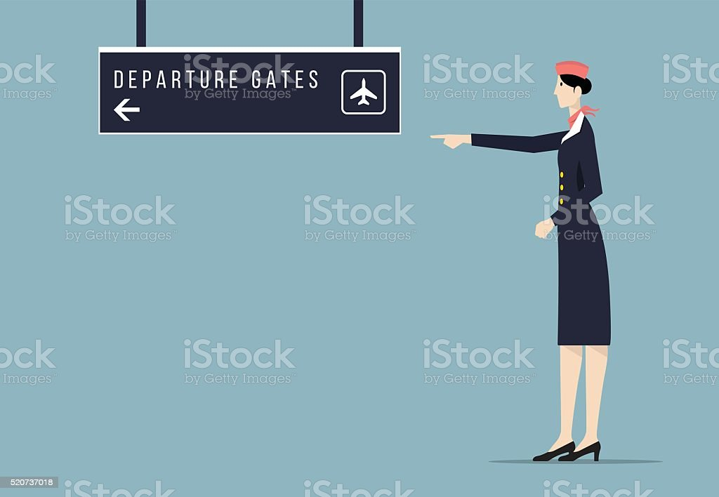 Airline Hostess Indicates Departure Gate Sign Board. vector art illustration