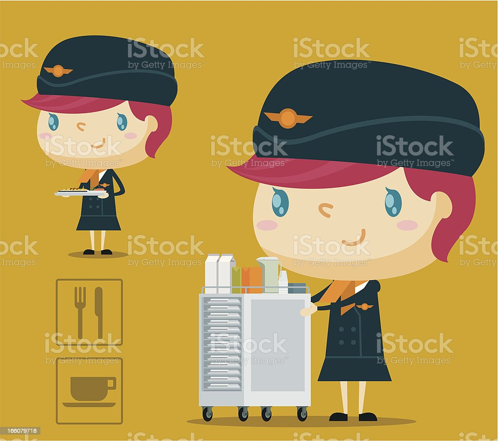 Airline Meal Service vector art illustration