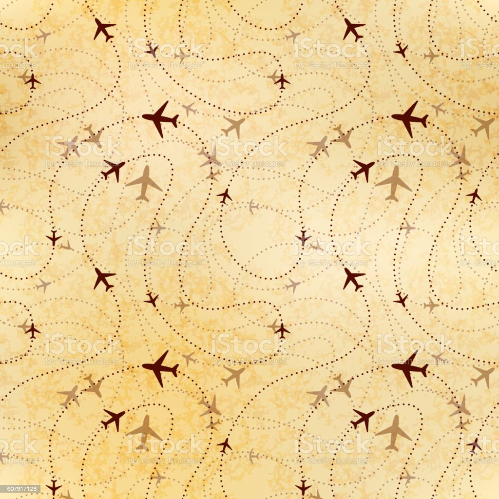 Airline routes, map on old paper, seamless pattern vector art illustration