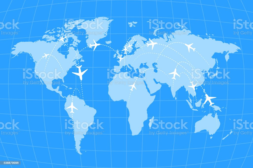 Airline routes on worldwide map, blue and white infographic vector art illustration