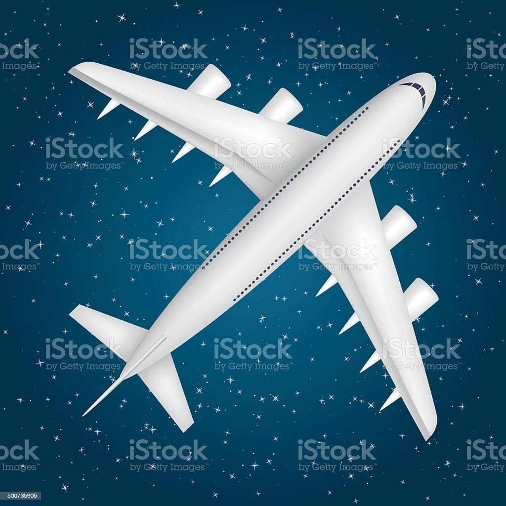 Airliner in the star sky vector art illustration