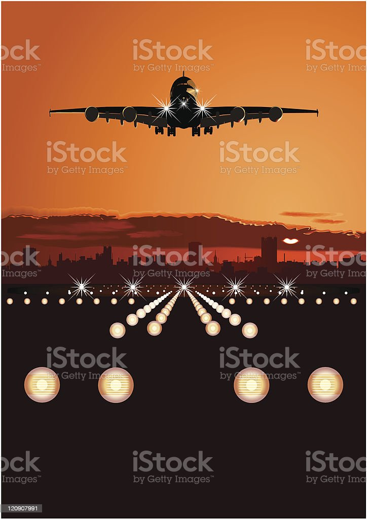 Airliner landing at skyline royalty-free stock vector art