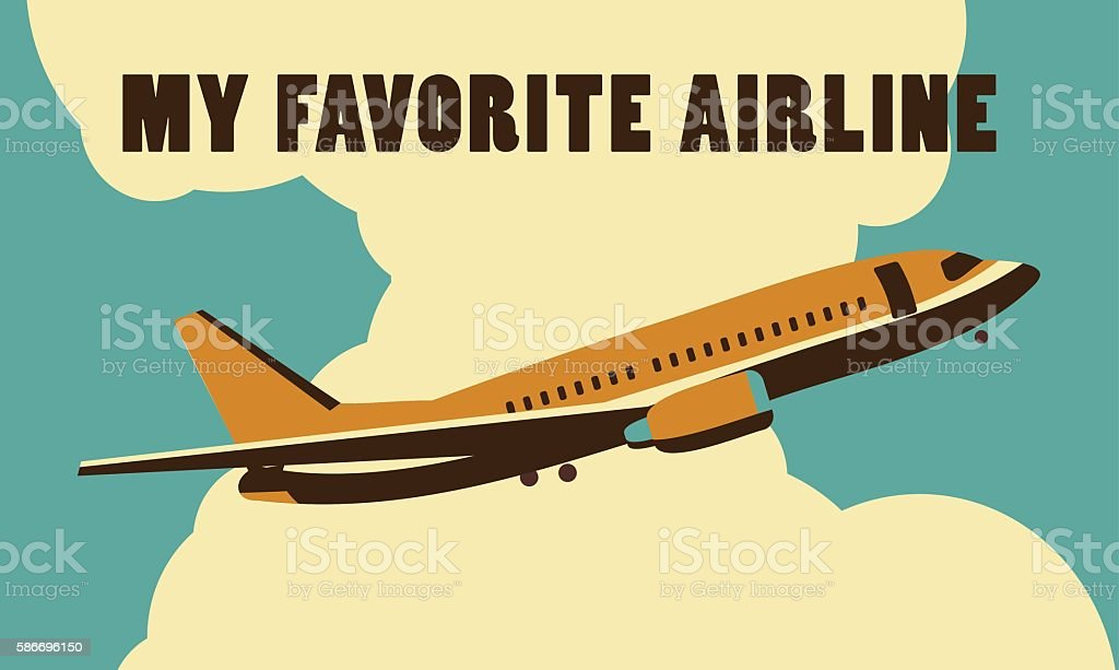 Airlines retro poster vector art illustration