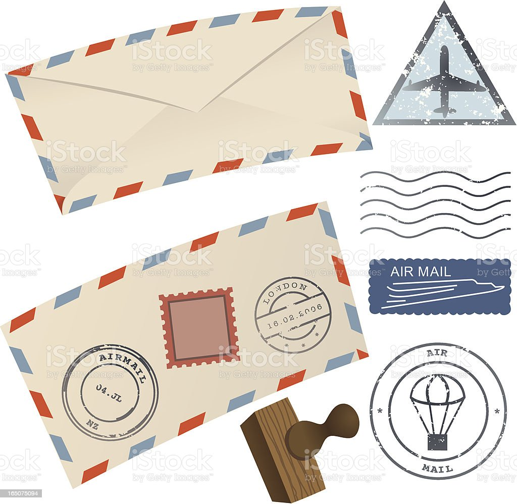 Airmail Envelopes, Stamps and Rubber Stamp royalty-free stock vector art