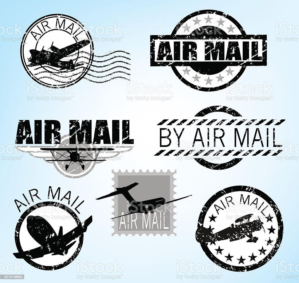 Airmail Icons vector art illustration