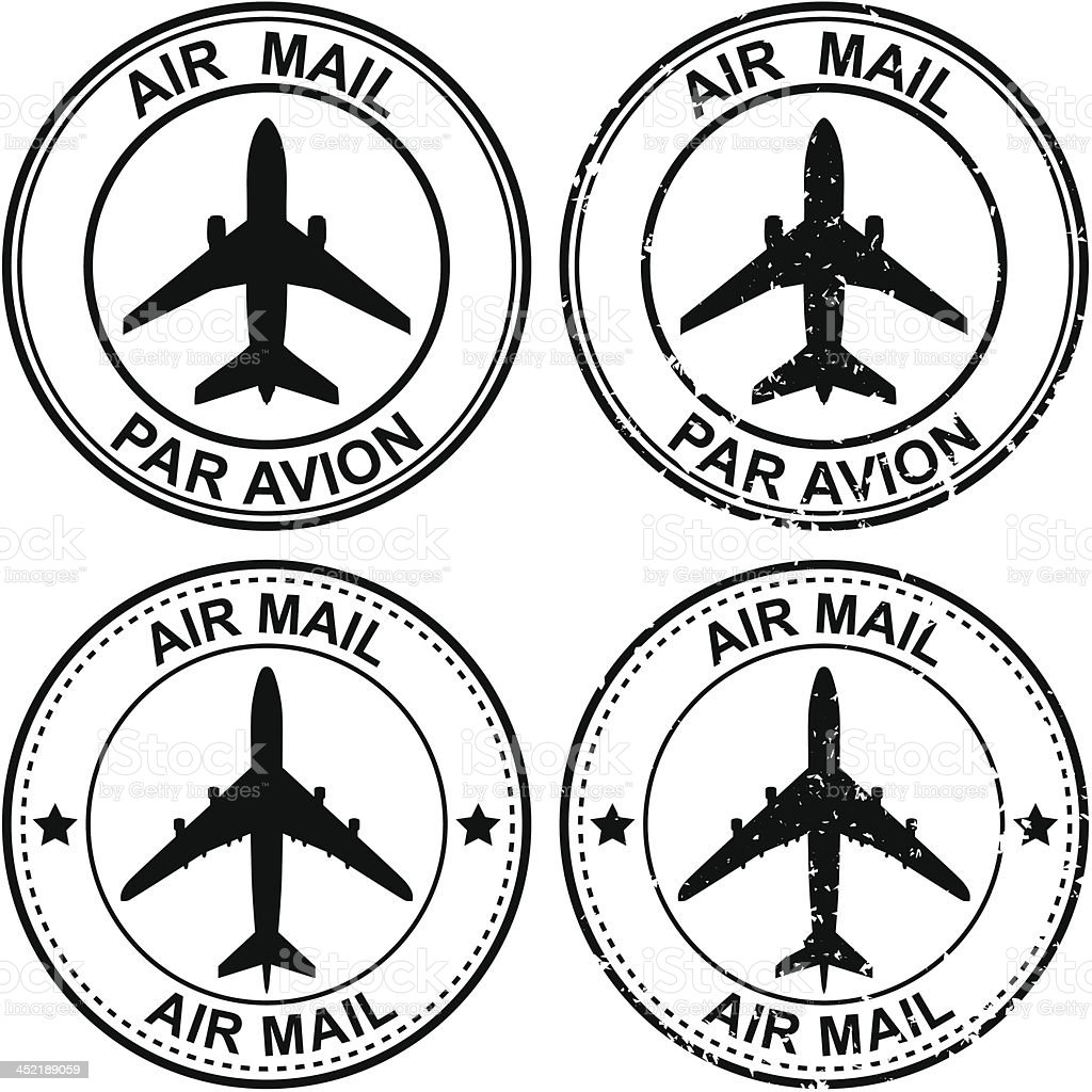 Airmail Stamps vector art illustration