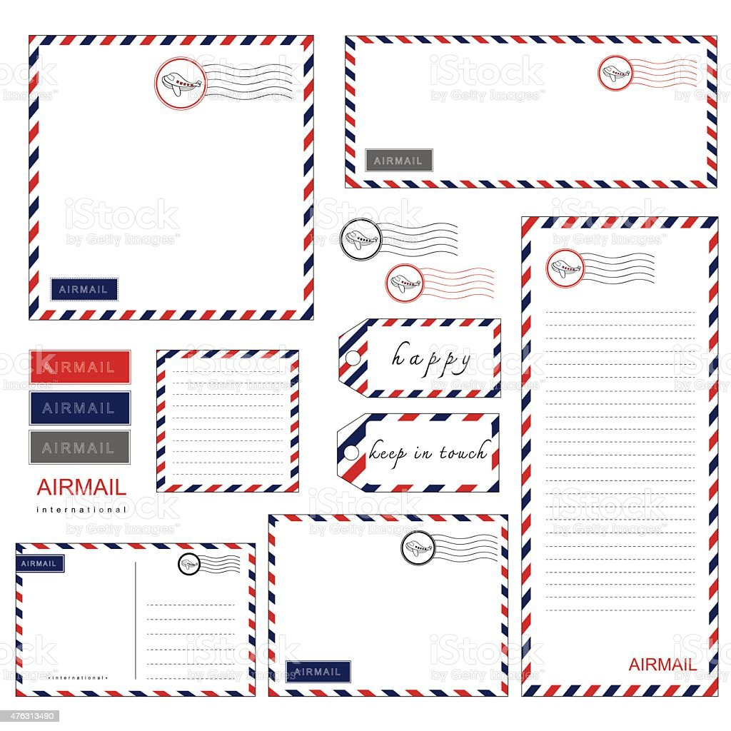 Airmail Stationery set vector art illustration