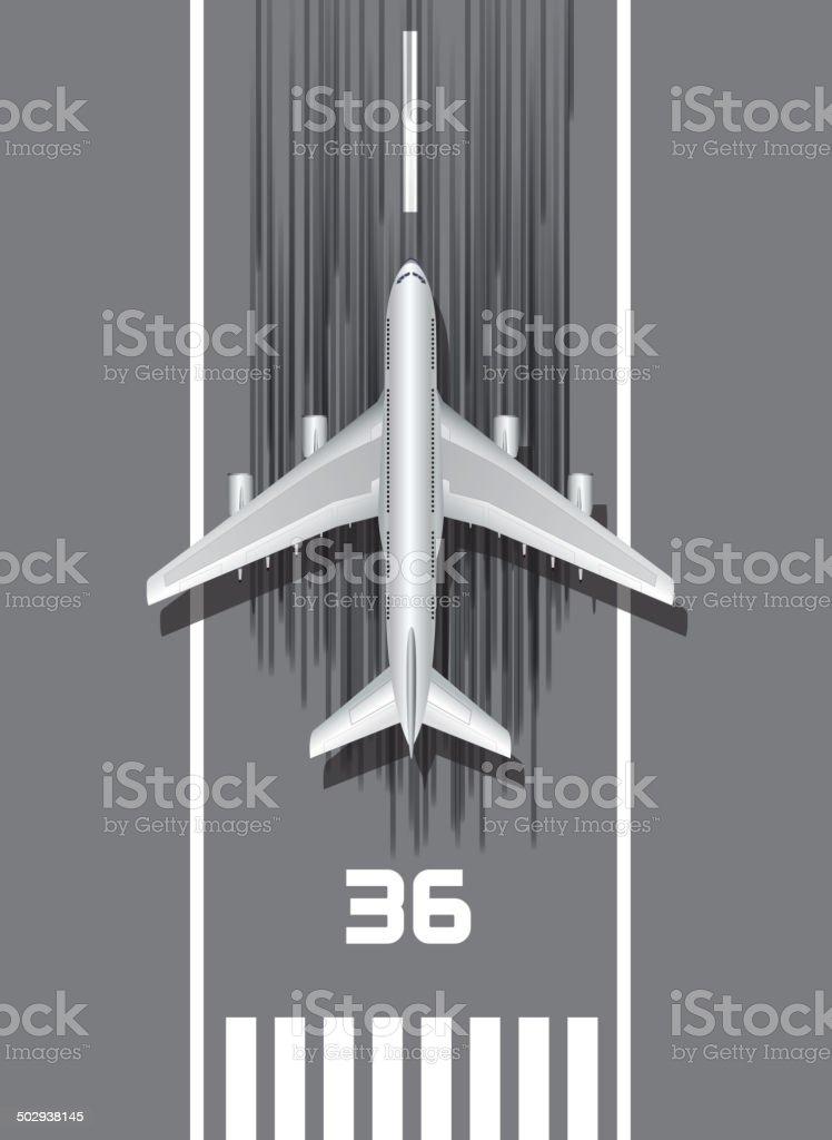 Airplan on the runway vector art illustration