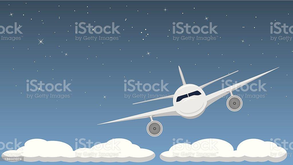 Airplane at Night royalty-free stock vector art