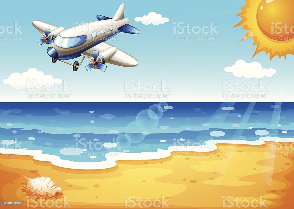 Airplane at the beach vector art illustration