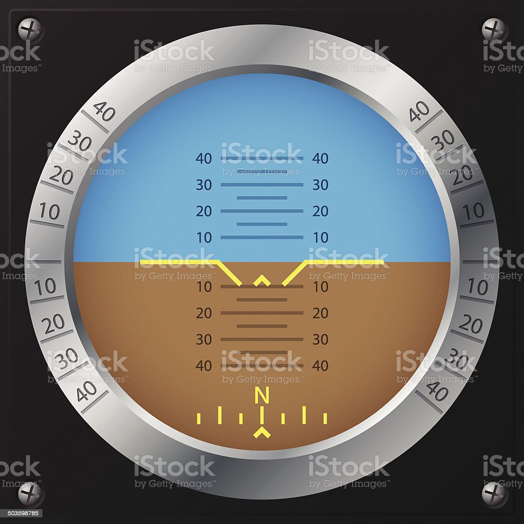 Airplane attitude indicator design vector art illustration