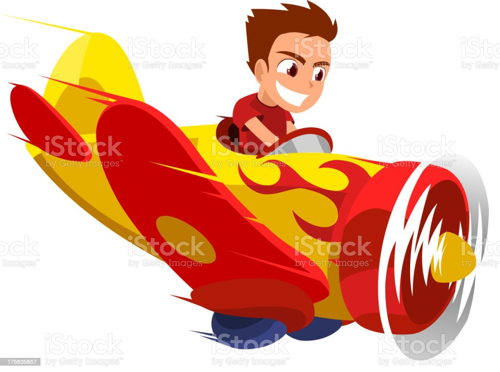 Airplane Boy Pilot Kid vector art illustration