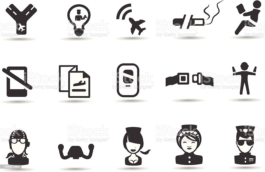 Airplane Cabin Icons vector art illustration