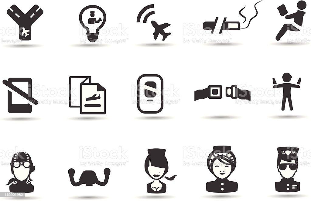 Airplane Cabin Icons vector art illustration
