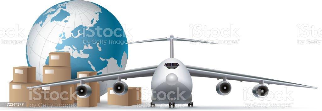 Airplane cargo vector art illustration