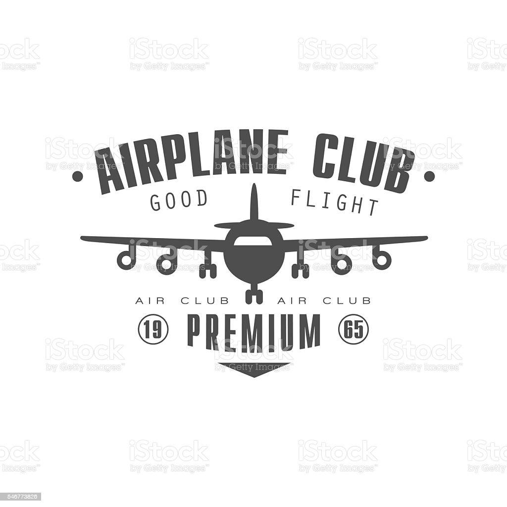 Airplane Club Premium Emblem Design vector art illustration