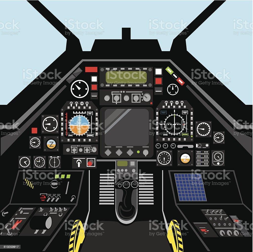 Airplane cockpit vector art illustration