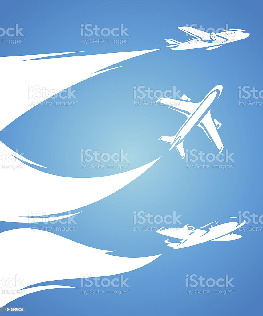 Airplane collection and blue background. Vector royalty-free stock vector art