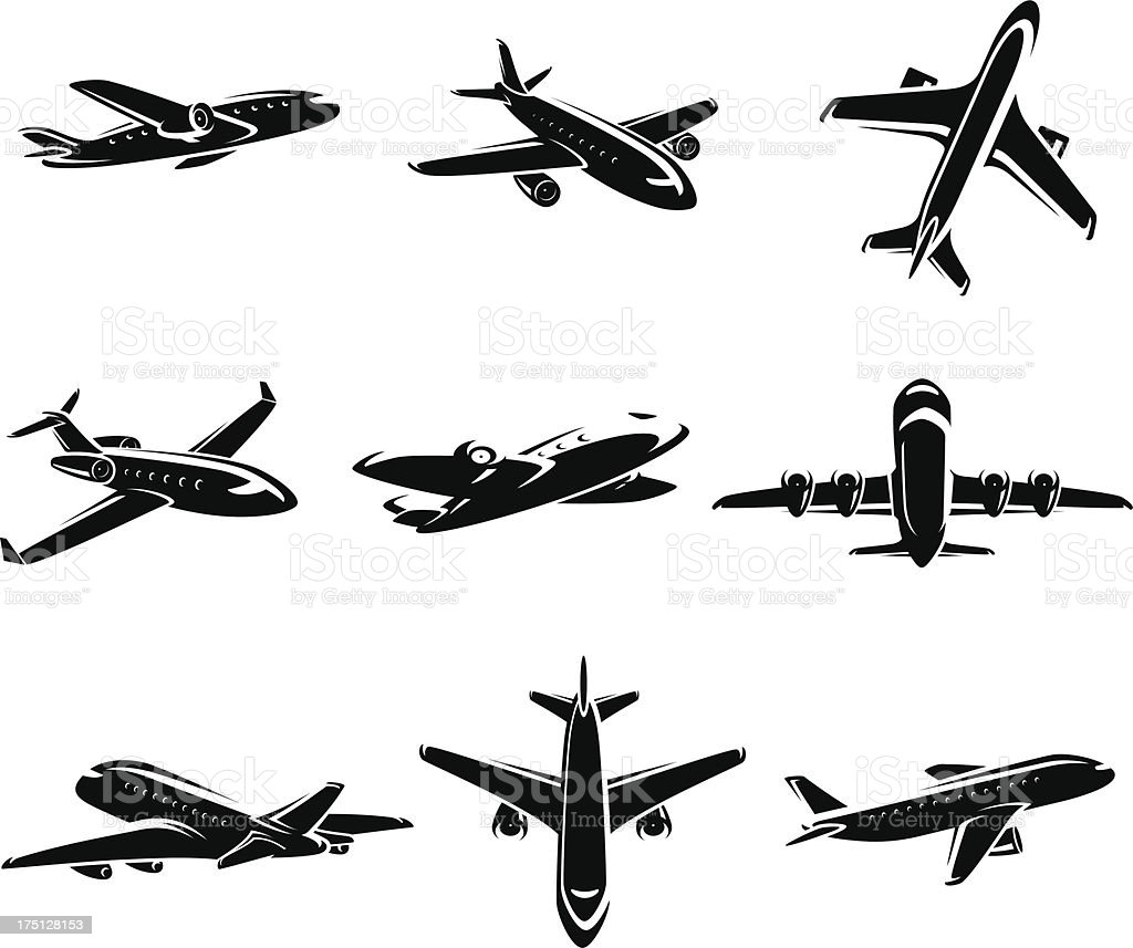 Airplane collection. Vector royalty-free stock vector art